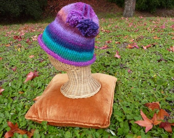 Blending colors hand knit hat in purples, turquoise, lavenders, spring green, beige and tassels wool