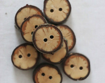 10 pieces rustic wood buttons. oak tree. rustic buttons