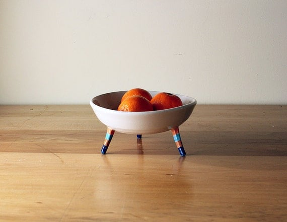 Three-Legged Bowl with Stripes on Legs- orange, turquoise, brown and navy blue - unique fruit bowl on stilts- handmade, Canadian pottery