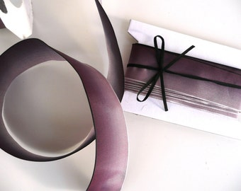 """5 Meters (5.4 yards) of Ombre French Wired Ribbon // Shaded Plum // 1.5"""" wide (3.5 cms)"""