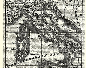 Italy Map Print. Vintage book page art print. Print on book page.