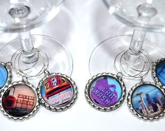 Seattle Landmark Wine Charms- Tradtional Wine Charms- Magnetic Wine Charms- Seattle Souvenirs