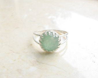 SALE - Jade ring - Jade gemstone ring - Silver Jade ring - Jade ring gold -Semiprecious ring - Natural jade ring - Jade jewelry
