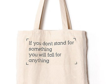 Stand or Fall - Canvas tote bag / Daily bag / Graphic Design / 1 Day 1 Bag