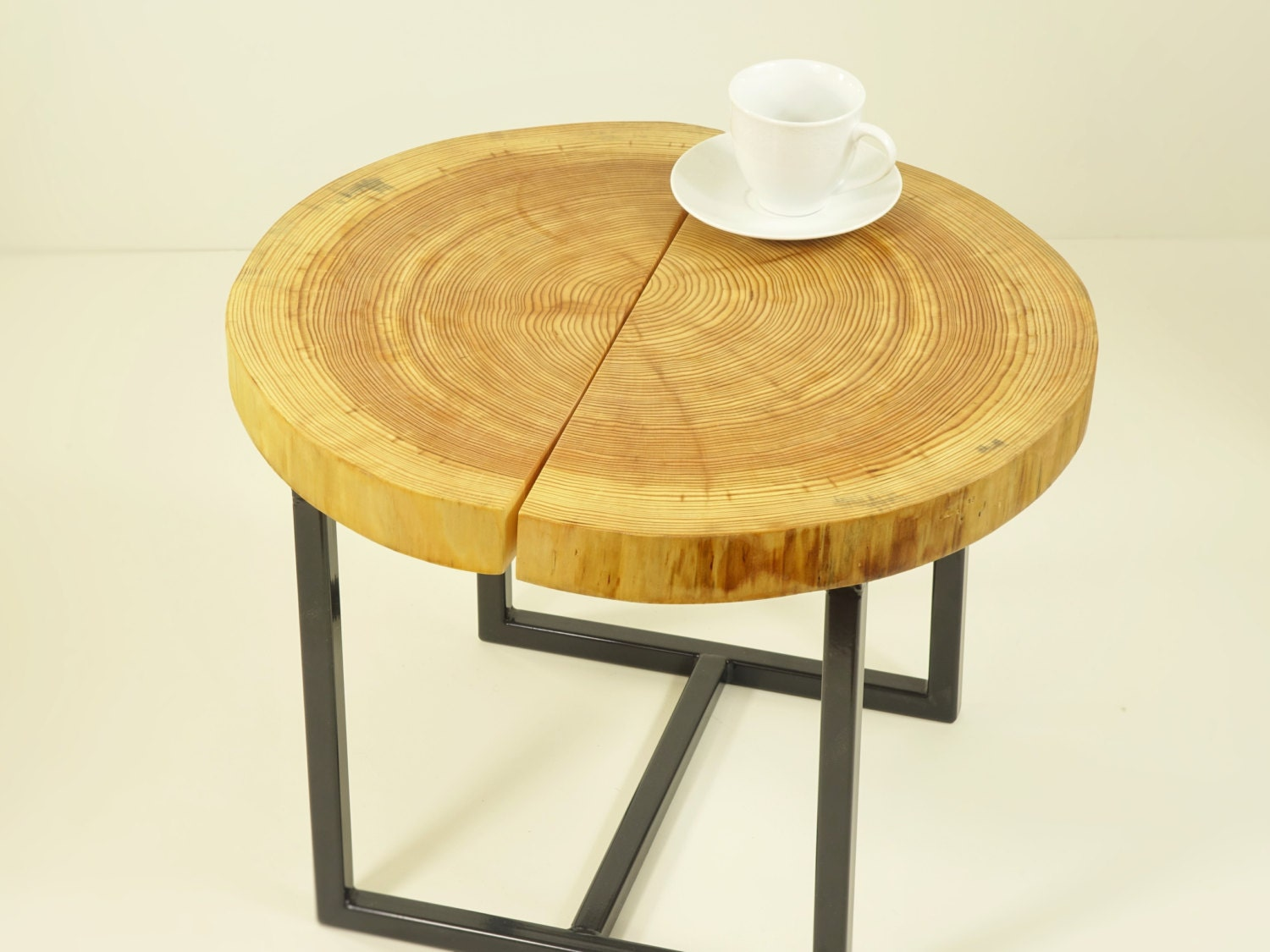 Wooden end table brown side table tree slices by