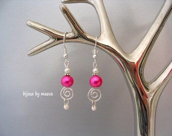 fuchsia wedding jewelry earrings and ivory beads and spiral