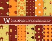 Thanksgiving Digital Paper Pack, apples, desserts, indian headdress, pilgrim hats, turkeys, pumpkins, thanksgiving projects, backgrounds