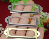 """10 Tags Name Holders - Vintage Metal Drawer Gift Box Frames Tag, Card Label Decorative, Label Hardware - Three Color 1 2/3""""x1/3""""(60x17mm)"""