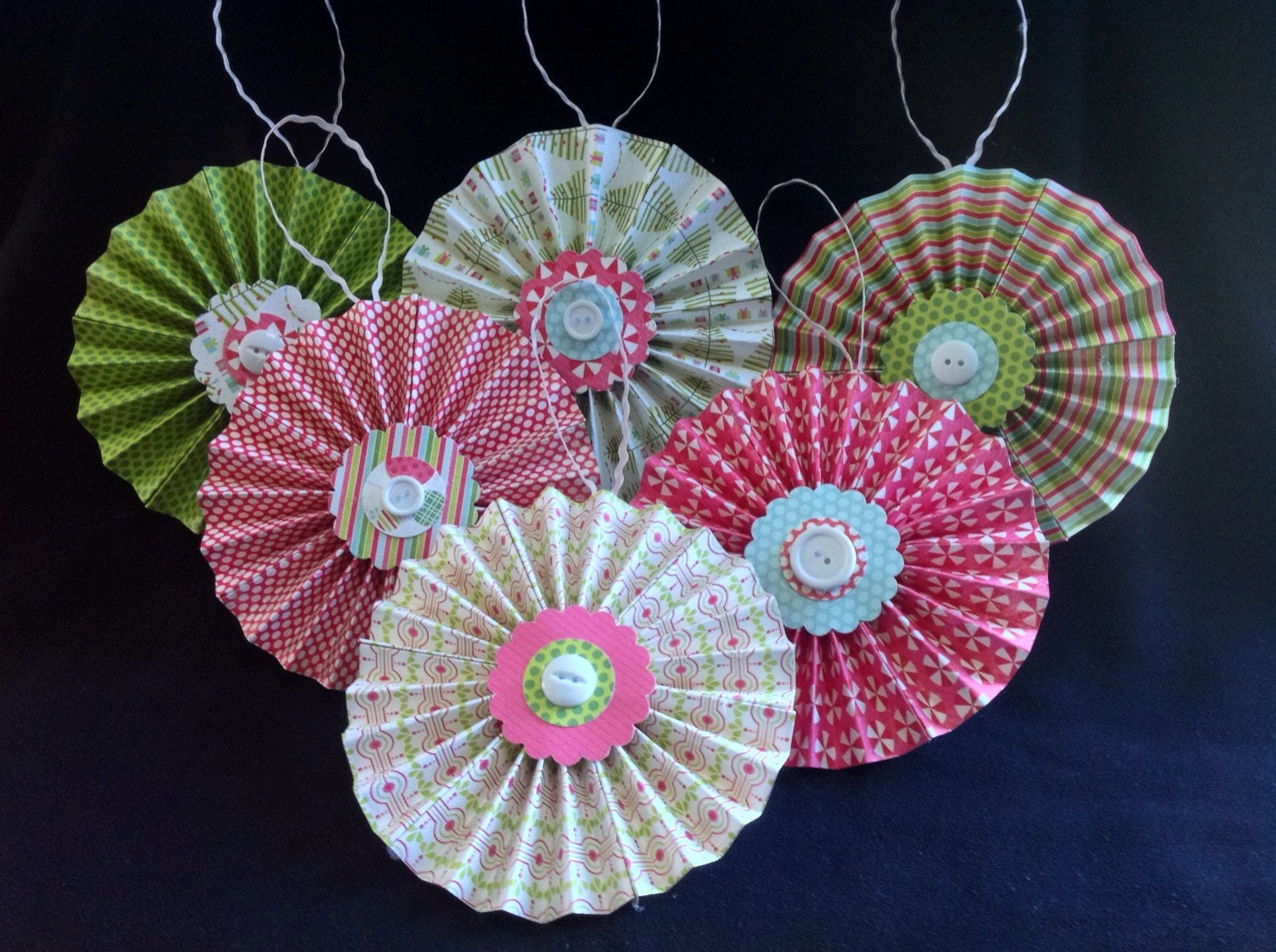 Clearance set of 6 pink green christmas print ornaments for Christmas ornaments clearance