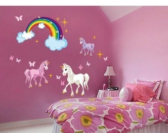 Vente automne filles de p pini re licorne set mural for Decoration murale licorne