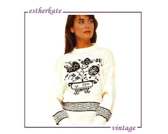 VINTAGE machine knitting pattern pdf, bowl of flowers Intarsia sweater, 32  - 40 inch chest, INSTANT DOWNLOAD