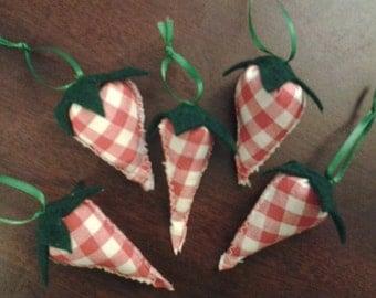 Set of 5 new handmade strawberry tree ornaments
