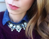 Gold, Faux Pearl and Rhinestone Statement Necklace; Statement Necklace;Trendy Necklace