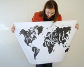 Joy to the World Map Christmas Poster Print, 36 X 24 or 18x12 Large Instant Download, Black and White, Holidays