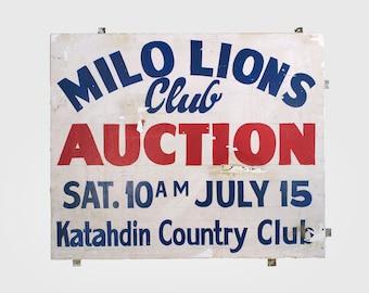 vintage sign, lions club sign, vintage metal sign, painted sign, antique sign, auction sign, antique display sign, advertising sign