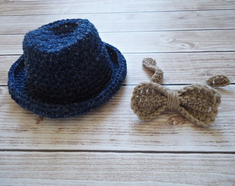 Little Man Suit in Baby -hat and Bow Tie Available in 3 Sizes- MADE TO ORDER
