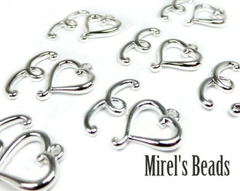 8 Sets Silver Plated Heart Toggle Clasps, 16mm