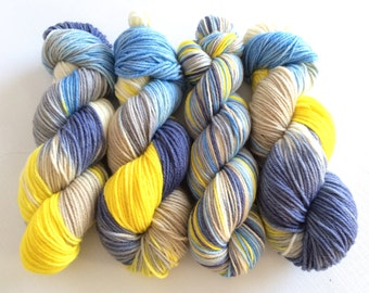 Hand Dyed Yarn--Summertime on 100% Superwash Worsted Merino