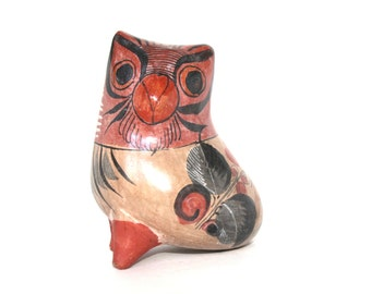 Vintage Mexican Owl / Pottery Figurine /  Vintage Horned Owl / Tonala Mexico Pottery / Owl Collectibles /  Unique Owl Gift