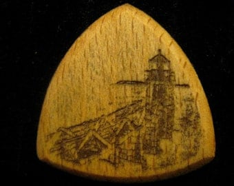 Wooden Guitar Pick Marshall Point Lighthouse