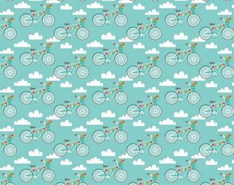 UK Shop: Fancy Free Bikes Teal Riley Blake Cotton Fabric