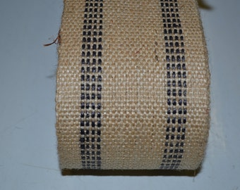 10 yards Black Stripe Burlap Jute Webbing for Crafts Furniture
