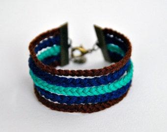 Cuff Bracelet / 5 braids / green - blue electric - water chestnut