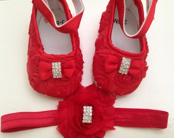 Red satin rosette baby shoes and headband set--black crib shoes-- newborn rosette shoes