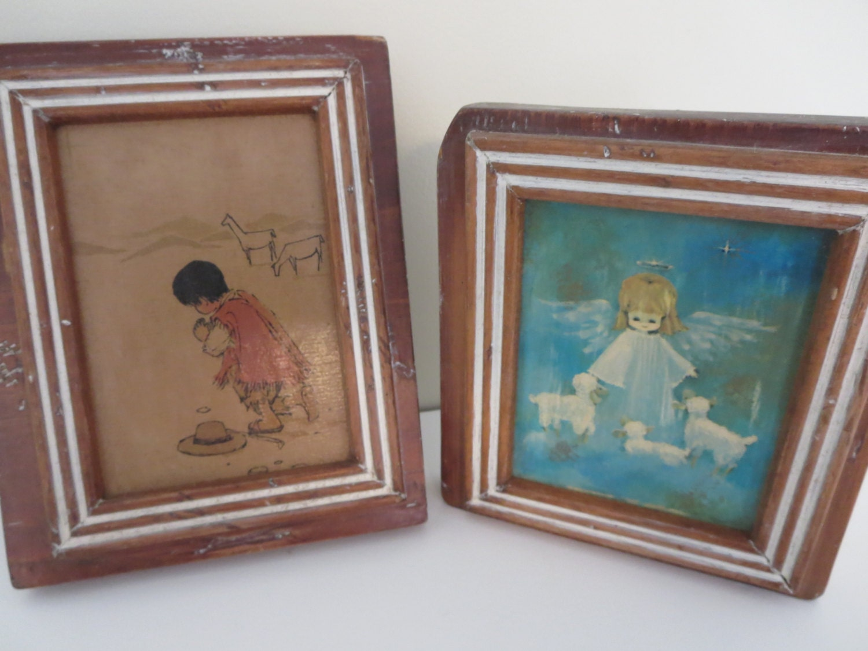 Vintage Wall Decor For Nursery : Vintage handmade nursery kids wall decor angel and boy