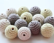 Organic crochet beads / Organic yarn beads / 22 or 25 mm 5 PC beads / Choose color