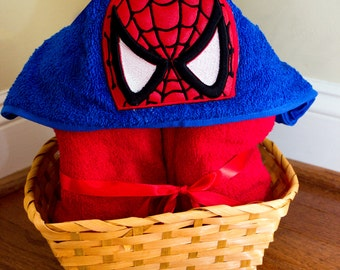 spider mask, embroidered, hooded towel, bathroom, personalized