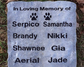 Personalized Pet Memorial Stone Deeply Engraved Customize the