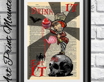 MOUNTED Gothic Alice in Wonderland Original Art print on antique dictionary book page.Evil Mad Hatter skull Steampunk. Wall hanging print