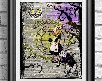 Gothic Alice in Wonderland Midnight in my Wonderland print on antique dictionary book page. Gothic Steampunk Alice White Rabbit Cheshire cat