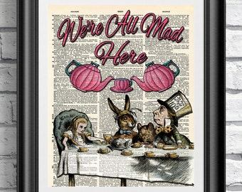 Dictionary book page print Alice in wonderland mad tea party. Art print on antique book page mad hatter. Wall hanging pink and blue.