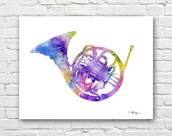 French Horn Art Print - Abstract Watercolor Painting - Band Wall Decor