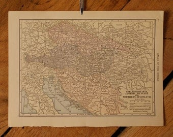 "1921 - Austria Map - Antique Atlas Map 6"" x 8"""