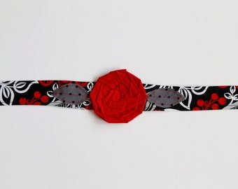 Heartthrob - Fabric Flower Headband, fabric rosette headband, fabric headwrap, black and red headband, red and black headband, handmade