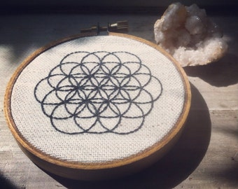 Flower of Life Hand-Stitched Embroidery in Hoop Frame