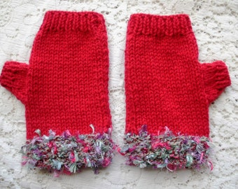 Fingerless gloves, women's knitted fingerless gloves, red gloves, colourful cuffs, shaped thumb, wide fit, chunky knit yarn, winter warmers