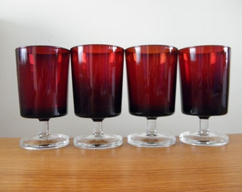 Ruby Red Glassware Luminarc Wine Glasses Cavalier Arcoroc France Set of 4