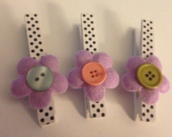 Set of 3 Decorative Clothespins Magnets - Flowers - Buttons - Organization - Home Decor