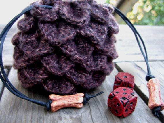 Dragon Egg Dice Bag Crochet Pattern : Dragon scale dice bag crochet drawstring pouch geek gaming