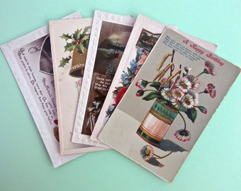 Pack of 5 Vintage Greeting Postcards to use for Card Making, Scrapbooking, Art Journals and other Paper Crafts