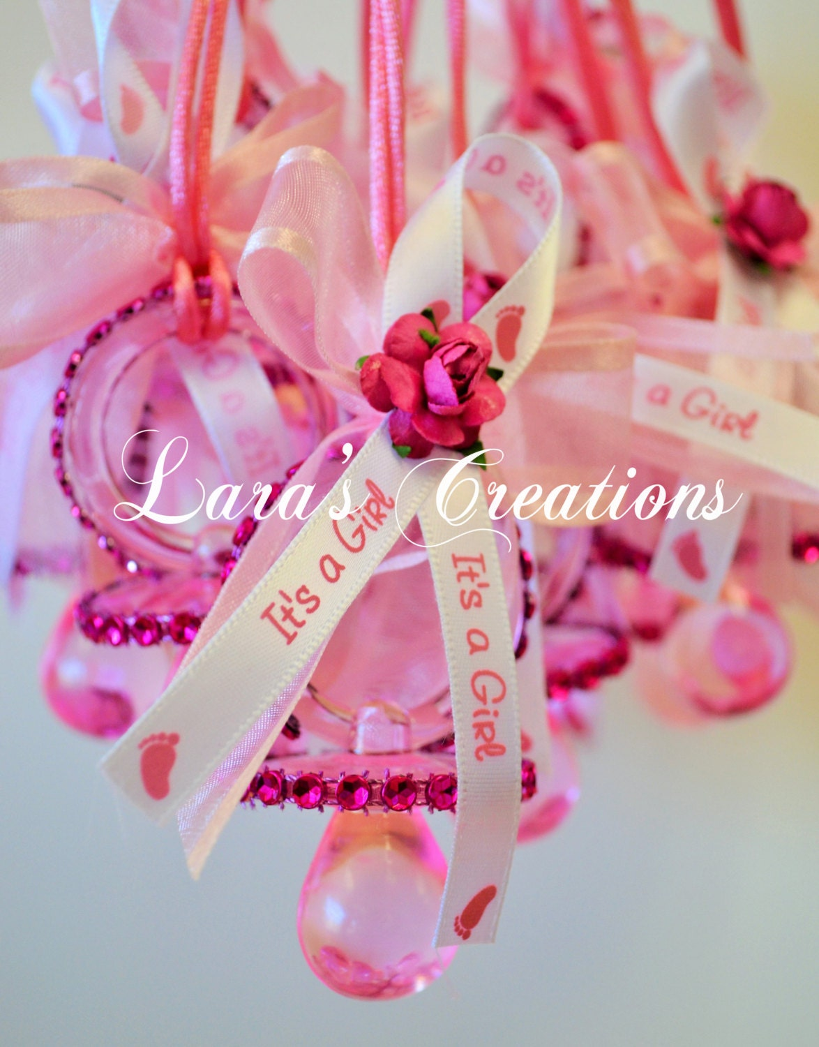 pink baby shower pacifier necklace game by larascreationsshop