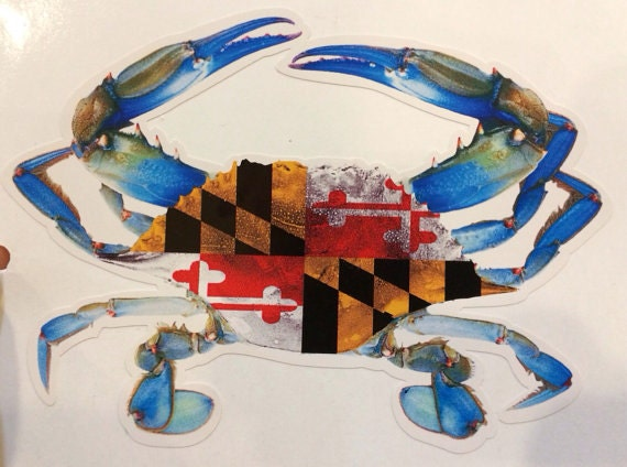 Maryland Flag Crab Decal Maryland Flag Blue Crab Vinyl