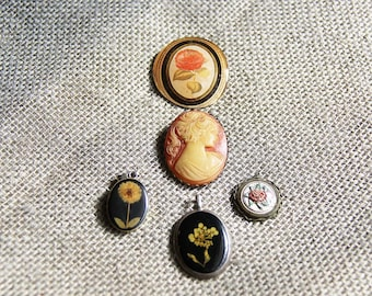 Vintage Collection of  5 Cameo and Floral Pendants and Clips for Wear, Jewelry, or Repurposing