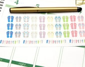 34 Summer Flip Flop Stickers! Perfect for your Erin Condren Life Planner, Filofax, Plum Paper & other planner or scrapbooking! #SQ00612