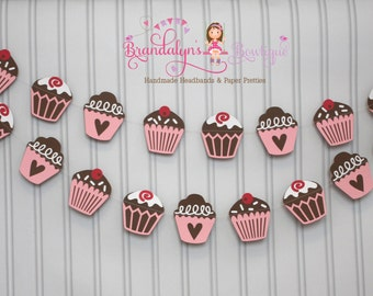 Cupcake Garland pink brown and white or you can CHOOSE YOUR COLORS, cupcake decorations, tea party, party, nursery, playroom