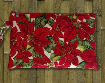 Clutch, Christmas Clutch Bag, Cosmetic Bag, Evening Bag, Purse, Wristlet, Zippered Bag in Poinsettia Print -  Made in Maui